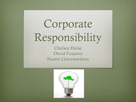 Corporate Responsibility Chelsea Hulse David Furjanic Naomi Gunawardena.