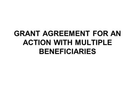 GRANT AGREEMENT FOR AN ACTION WITH MULTIPLE BENEFICIARIES.