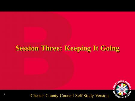 Chester County Council Self Study Version 1 Session Three: Keeping It Going.