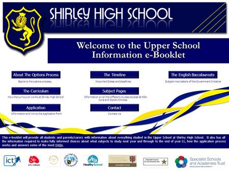 Welcome to the Upper School Information e-Booklet