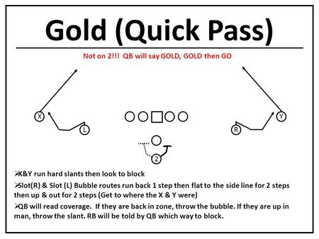 Gold (Quick Pass) L X R Y  X&Y run hard slants then look to block  Slot(R) & Slot (L) Bubble routes run back 1 step then flat to the side line for 2.