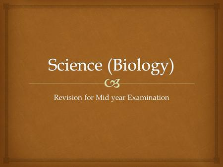 Revision for Mid year Examination