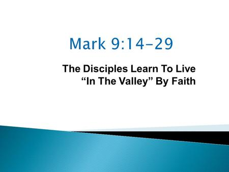 "The Disciples Learn To Live ""In The Valley"" By Faith."