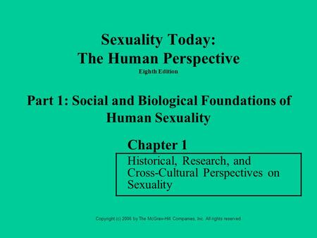 Historical perspectives on human sexuality