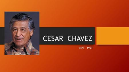 CESAR CHAVEZ 1927 - 1993. Cesar Chavez spent the first ten years of his life on a small farm near Yuma, Arizona. His family and most of the Mexican American.