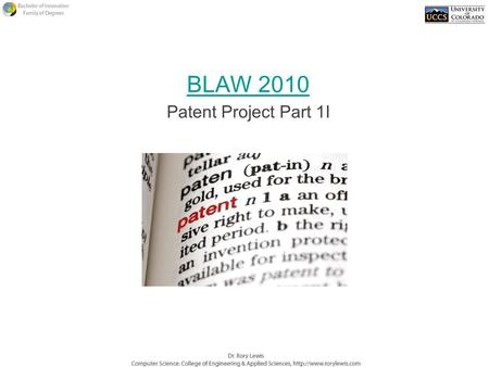 BLAW 2010 Patent Project Part 1I. Why do we have patent laws?