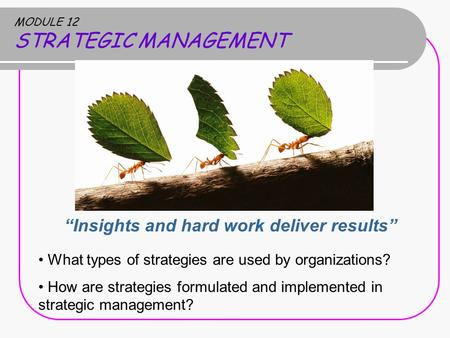 "MODULE 12 STRATEGIC MANAGEMENT ""Insights and hard work deliver results"" What types of strategies are used by organizations? How are strategies formulated."