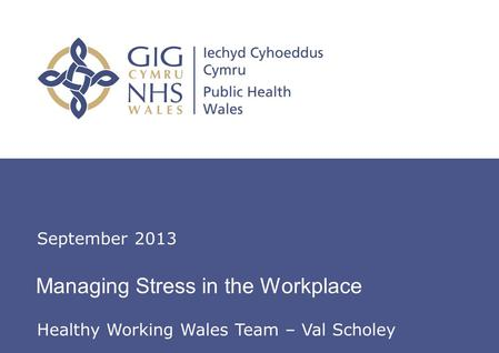 Insert name of presentation on Master Slide Managing Stress in the Workplace September 2013 Healthy Working Wales Team – Val Scholey.