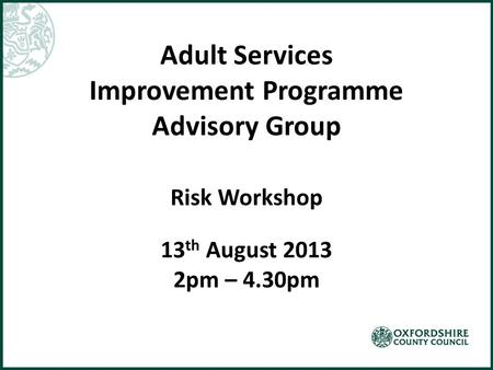 Adult Services Improvement Programme Advisory Group Risk Workshop 13 th August 2013 2pm – 4.30pm.