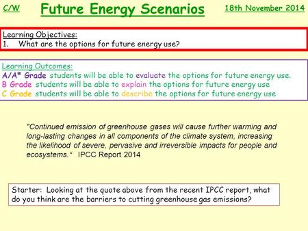 Future Energy Scenarios Learning Objectives: 1.What are the options for future energy use? Learning Outcomes: A/A* Grade students will be able to evaluate.
