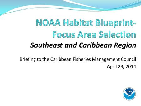 Briefing to the Caribbean Fisheries Management Council April 23, 2014.