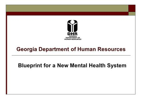 Georgia Department of Human Resources Blueprint for a New Mental Health System.