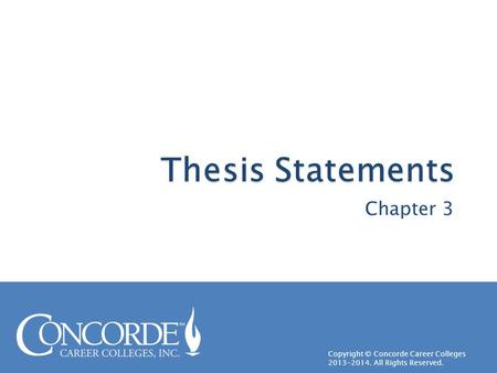 Thesis Statements Chapter 3.