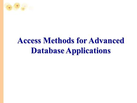 Access Methods for Advanced Database Applications.