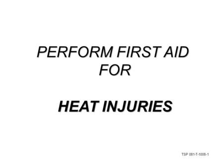 TSP 081-T-1008-1 PERFORM FIRST AID FOR HEAT INJURIES.