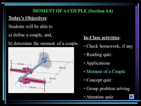 MOMENT OF A COUPLE (Section 4.6)