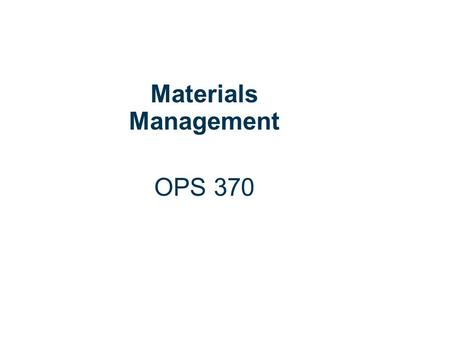 6 | 1 Copyright © Cengage Learning. All rights reserved. Independent Demand Inventory Materials Management OPS 370.