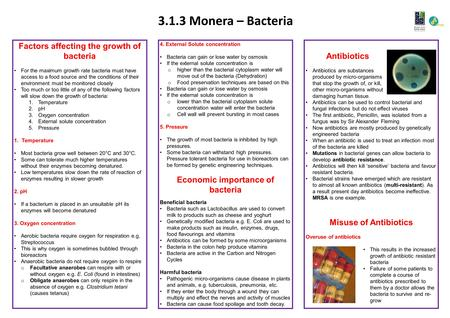 3.1.3 Monera – Bacteria 4. External Solute concentration Bacteria can gain or lose water by osmosis If the external solute concentration is o higher than.