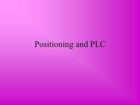 Positioning and PLC. Product Differentiation Most competitive advantages lasts only a short time. Companies therefore constantly need to think up new.