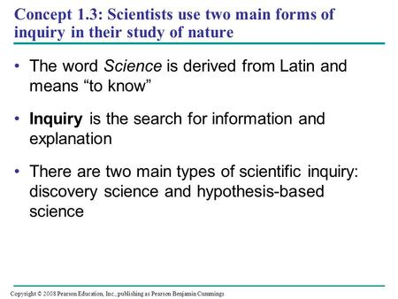 "The word Science is derived from Latin and means ""to know"""