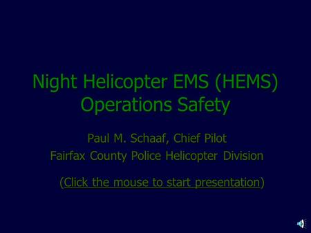 Night Helicopter EMS (HEMS) Operations Safety