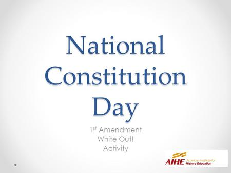 National Constitution Day 1 st Amendment White Out! Activity.