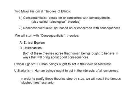 "Two Major Historical Theories of Ethics: 1.) Consequentialist: based on or concerned with consequences. (also called ""teleological"" theories) 2.) Nonconsequentialist:"