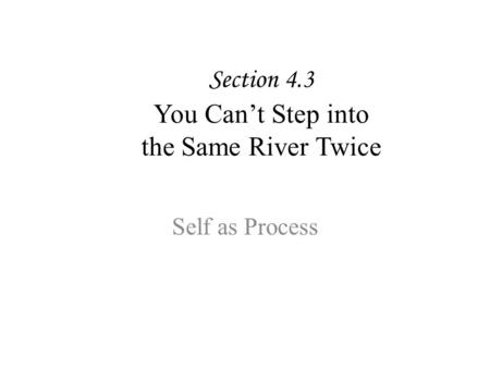 Section 4.3 You Can't Step into the Same River Twice Self as Process.