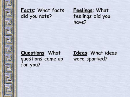Facts: What facts did you note? Feelings: What feelings did you have? Questions: What questions came up for you? Ideas: What ideas were sparked?