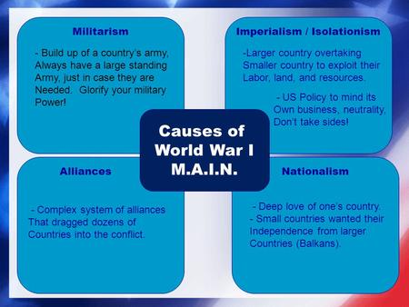 MilitarismImperialism / Isolationism AlliancesNationalism Causes of World War I M.A.I.N. - Build up of a country's army, Always have a large standing Army,