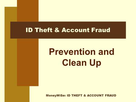 MoneyWi$e: ID THEFT & ACCOUNT FRAUD ID Theft & Account Fraud Prevention and Clean Up.