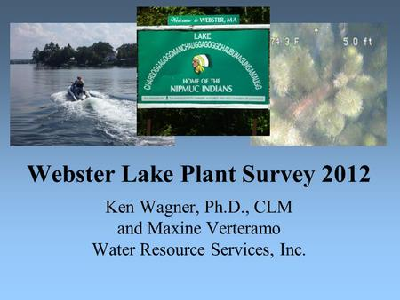 Webster Lake Plant Survey 2012 Ken Wagner, Ph.D., CLM and Maxine Verteramo Water Resource Services, Inc.