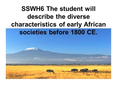SSWH6 The student will describe the diverse characteristics of early African societies before 1800 CE.
