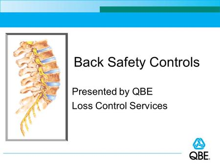 Presented by QBE Loss Control Services Back Safety Controls.