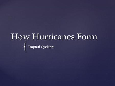 { How Hurricanes Form Tropical Cyclones.  As you watch the animation, record your observations about the motion of Hurricane Katrina. Hurricane Katrina.