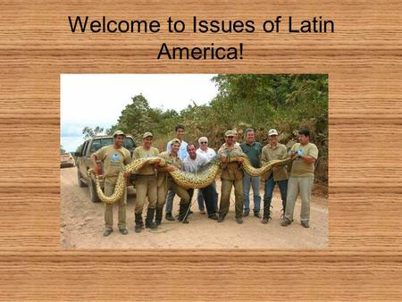 Welcome to Issues of Latin America!. Issues of Latin America Water management problems Deforestation Fuel issues Trade challenges Over-fishing Poverty.