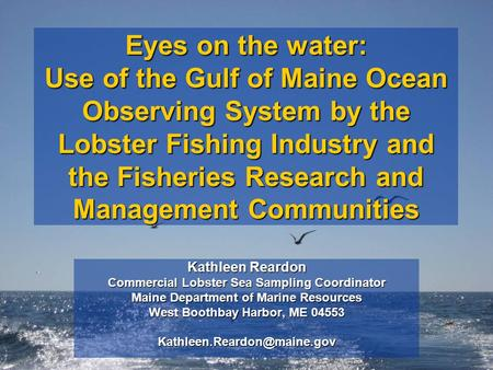 Eyes on the water: Use of the Gulf of Maine Ocean Observing System by the Lobster Fishing Industry and the Fisheries Research and Management Communities.