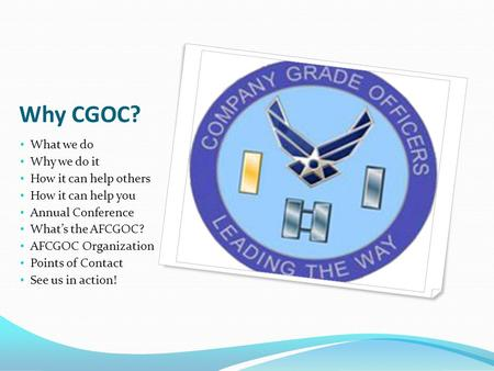 Why CGOC? What we do Why we do it How it can help others How it can help you Annual Conference What's the AFCGOC? AFCGOC Organization Points of Contact.