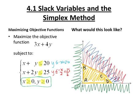 4.1 Slack Variables and the Simplex Method Maximizing Objective Functions Maximize the objective function subject to: What would this look like?