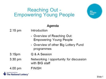 Reaching Out - Empowering Young People Agenda 2.15 pm Introduction Overview of Reaching Out: Empowering Young People Overview of other Big Lottery Fund.