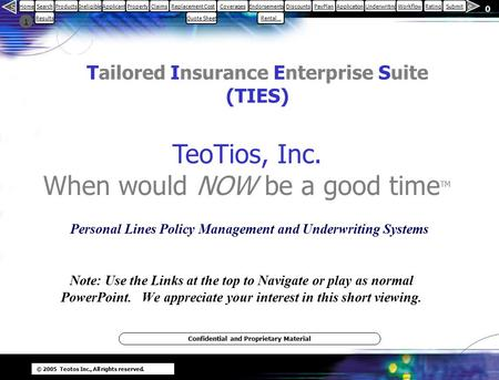 © 2005 Teotos Inc., All rights reserved. 0 1 S e HomeSearch Results ProductsIneligibleApplicantPropertyClaimsReplacement CostCoveragesEndorsements Rental…