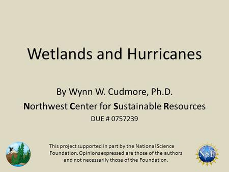 Wetlands and Hurricanes By Wynn W. Cudmore, Ph.D. Northwest Center for Sustainable Resources DUE # 0757239 This project supported in part by the National.