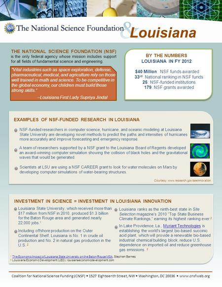 BY THE NUMBERS LOUISIANA IN FY 2012 $40 Million: NSF funds awarded 33 rd : National ranking in NSF funds 25: NSF-funded institutions 179: NSF grants awarded.