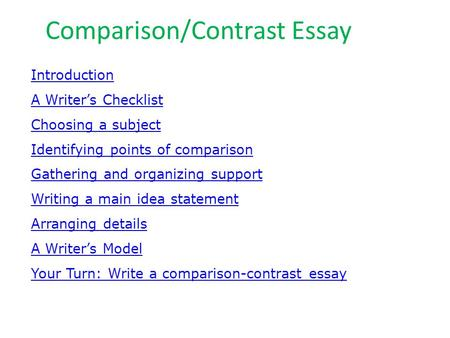 Writing Workshop Writing A Comparecontrast Essay Assignment  Comparisoncontrast Essay Introduction A Writers Checklist Choosing A  Subject Identifying Points Of Comparison Gathering Compare And Contrast Essay High School And College also How To Write An Application Essay For High School  Sample Proposal Essay
