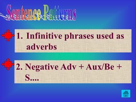 1.Infinitive phrases used as adverbsInfinitive phrases used as adverbs 2. Negative Adv + Aux/Be + S....