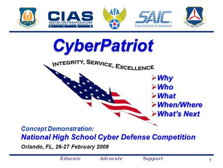 Educate Advocate Support Concept Demonstration: National High School Cyber Defense Competition Orlando, FL, 26-27 February 2009 Why  Why  Who  What.