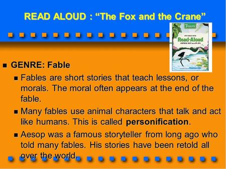 "READ ALOUD : ""The Fox and the Crane"""