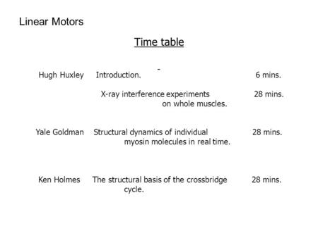 Time table Hugh Huxley Introduction. 6 mins. X-ray interference experiments 28 mins. on whole muscles. Yale Goldman Structural dynamics of individual 28.