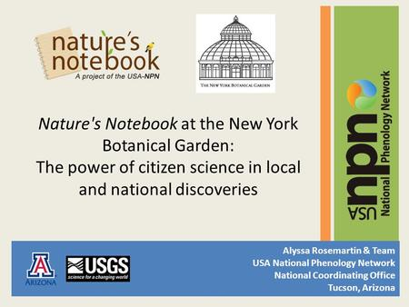 Nature's Notebook at the New York Botanical Garden: The power of citizen science in local and national discoveries Alyssa Rosemartin & Team USA National.