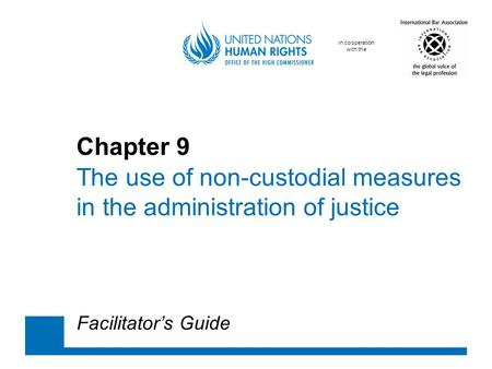 In cooperation with the Chapter 9 The use of non-custodial measures in the administration of justice Facilitator's Guide.